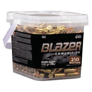 CCI Blazer Brass 9MM 115 Gr FMJ (250) Range Bucket