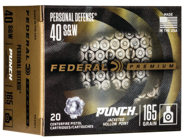 """Federal 40 S&W 165 Gr JHP 20 Rounds Personal Defense """"Punch"""""""