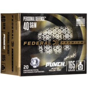 "Federal 40 S&W 165 Gr JHP 20 Rounds Personal Defense ""Punch"""