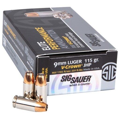 Sig Sauer 9MM 115 Gr Performance V-Crown JHP 50 Rounds