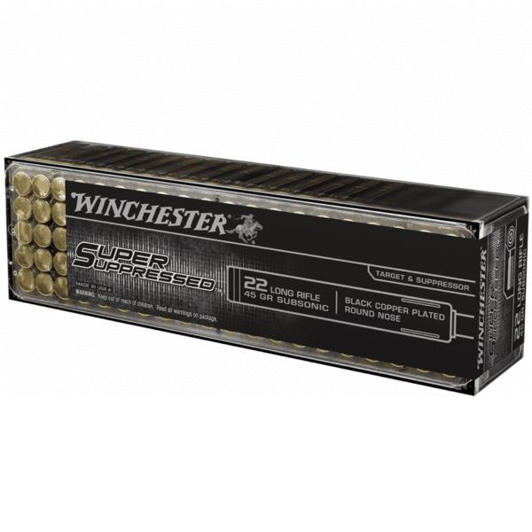 Winchester 22 LR 45 Gr Black Copper Round Nose Super Suppressed (100)