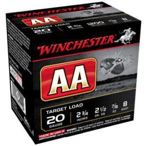 """Winchester Shotshell 20 Ga 7/8 Oz #8 2 3/4"""" AA Target Load 1200 Fps (25)"""