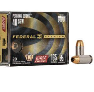 Federal 40 S&W 165 Gr Premium Hydra-Shok Deep JHP (20)