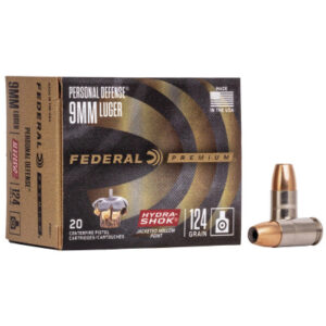 Federal 9mm 124 Gr Premium Hydra-Shok JHP (20)