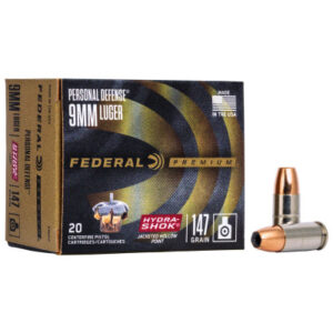 Federal 9mm 147 Gr Premium Hydra-Shok JHP (20)