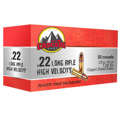 Cascade 22 LR Ammo 40 Gr Lead Round Nose Copper Plated HV (50) 1250 FPS With Tray