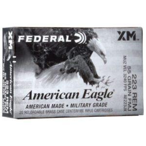 Federal 223 Remington 55 Grain American Eagle FMJBT Ammunition 20 Rounds