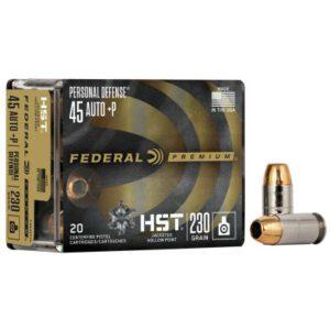 Federal 45 ACP +P 230 GR Personal Defense HST JHP (20)