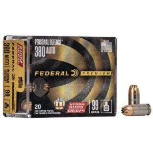 Federal 380 ACP 99 Gr Premium Personal Defense Hydra-Shok Deep (50)
